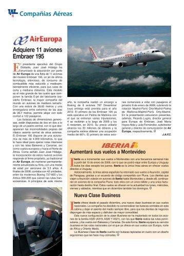 Compañías Aéreas Adquiere 11 aviones Embraer 195 - TAT Revista