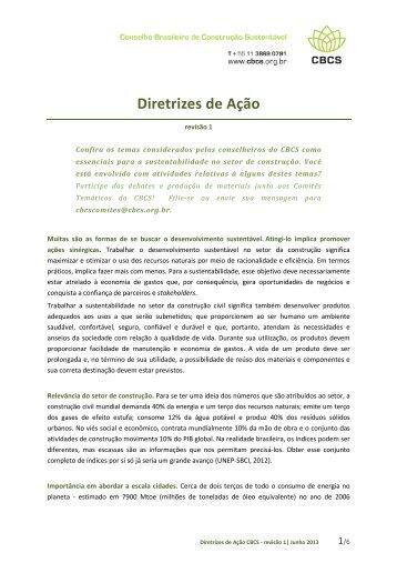 Leia na íntegra o texto Diretrizes de Ação. - CBCS
