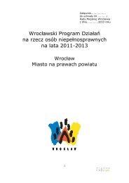 Wrocławski Program Działań na rzecz osób niepełnosprawnych na ...