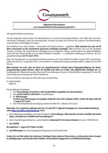 Bewerberinformationen Erstsemesterauswahl FH 2013 - Cusanuswerk
