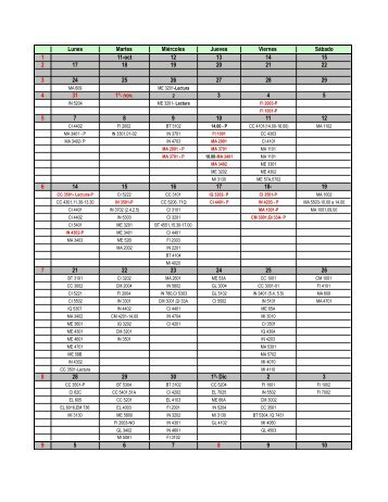 Calendario Controles Primavera 2011
