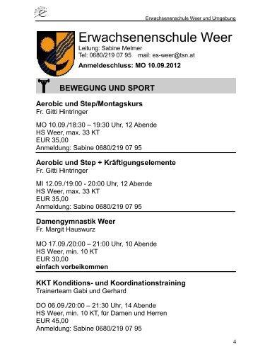Erwachsenenschule Weer - TIBS.at