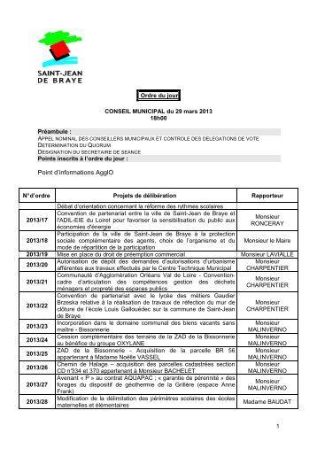 Ordre du jour conseil municipal 29.03.2013 - Ville de Saint Jean de ...