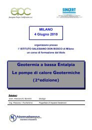 EPC Geotermia a bassa entalpia - Ordine dei Geologi della Lombardia