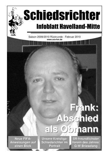 Frank: Abschied als Obmann - Schiedsrichter Havelland-Mitte