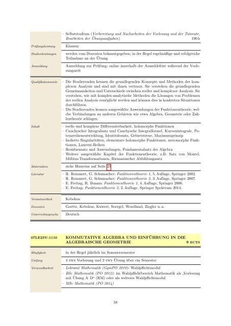 Modulhandbuch und Studienplan - Mathematisches Institut der ...