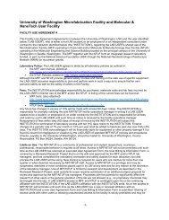 Facility Use Agreement - University of Washington