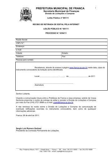 Edital - Prefeitura de Franca