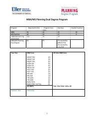 MBA/MS Planning Dual Degree Program - Eller MBA Programs