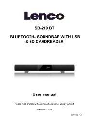 SB-210 BT BLUETOOTH® SOUNDBAR WITH USB & SD ... - Lenco