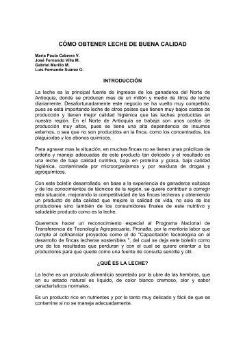 CÓMO OBTENER LECHE DE BUENA CALIDAD - Agronet