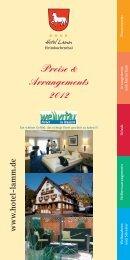 Preise & Arrangements 2012 www .hotel-lamm.de