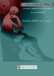 Octobre 2004, vol. 5, no. 1 - Cégep du Vieux Montréal