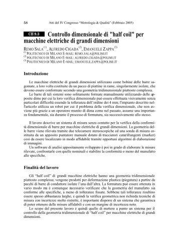 Metrologia e Qualità - Politecnico di Milano