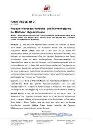 FACHPRESSE-INFO Neuaufstellung des Vertriebs- und ...
