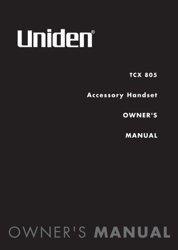 Accessory Handset OWNER'S MANUAL - at Uniden