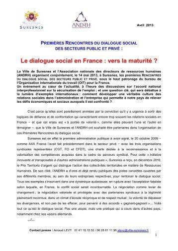 Premières Rencontres du dialogue social des secteurs ... - Suresnes