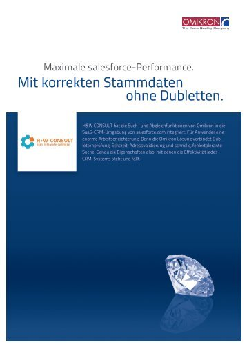 Mit korrekten Stammdaten ohne Dubletten. - H+W CONSULT GmbH