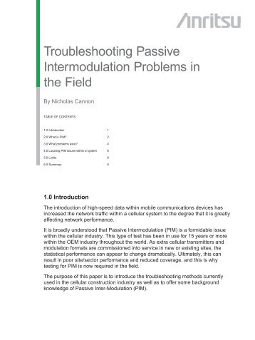 Troubleshooting Passive Intermodulation Problems in the Field ...