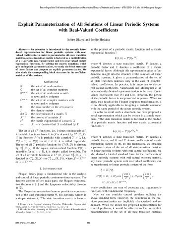 Explicit Parameterization of All Solutions of Linear ... - Conferences.hu