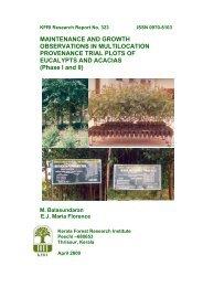 KFRI Research Report No - Kerala Forest Research Institute