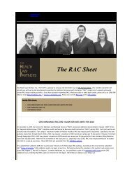 The RAC Sheet - Health Law Partners, PC