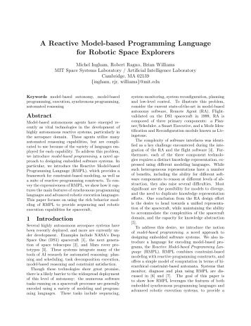 A Reactive Model-based Programming Language for ... - CSAIL - MIT