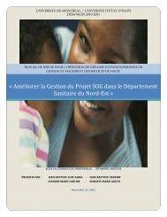 Améliorer la gestion du Projet SOG dans le Département sanitaire ...