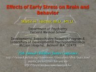 Effects of Early Stress on Brain and Behavior - McLean Hospital