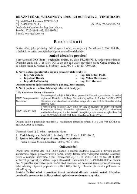 Úřední povolení pro DKV Brno - Drážní úřad