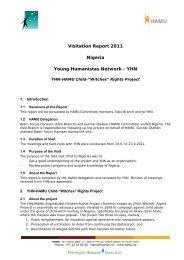 Visitation Report 2011 Nigeria Young Humanistas Network - YHN