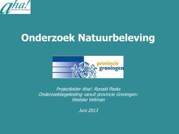 Onderzoek Natuurbeleving - Provincie Groningen