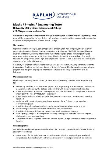 Maths / Physics / Engineering Tutor - Kaplan International Colleges