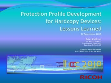 Protection Profile Development for Hardcopy Devices: Lessons ...