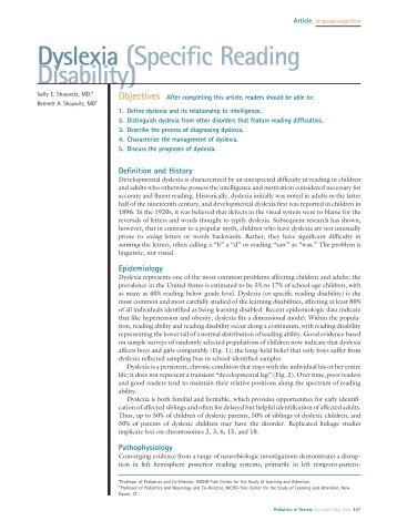 Dyslexia (Specific Reading Disability) - Mydoctor.ca