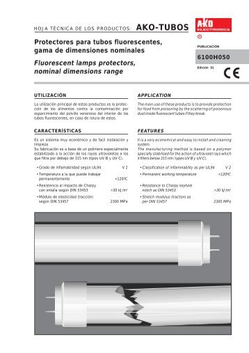 Protectores para tubos fluorescentes, gama de ... - Acr-asia.com