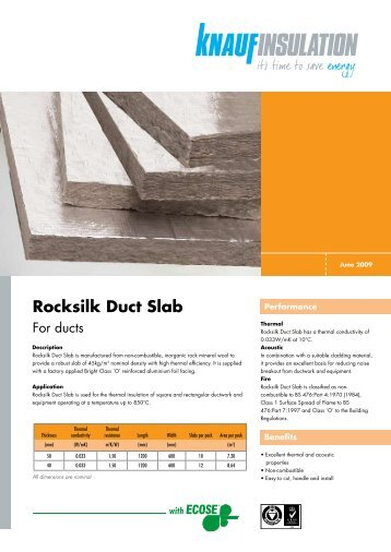 Rocksilk Duct Slab - Trademate Home Page