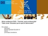 6ème conférence EWS - 'Femmes, sport et démocratie' Table ronde ...