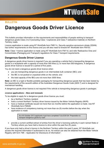Dangerous Goods Driver Licence - NT WorkSafe