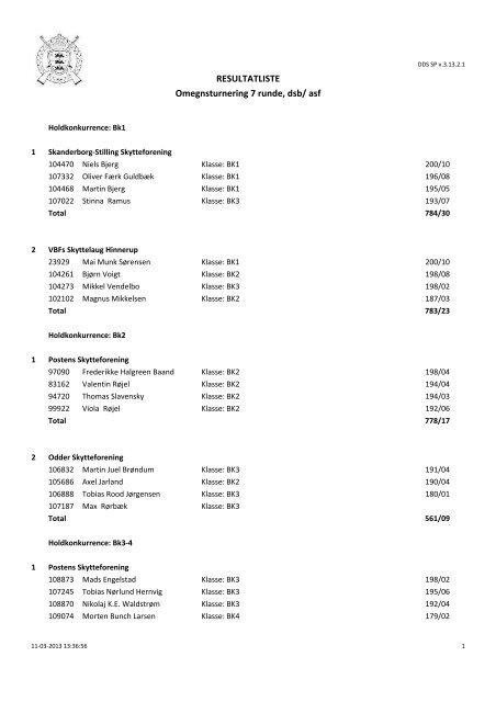 RESULTATLISTE Omegnsturnering 7 runde, dsb/ asf