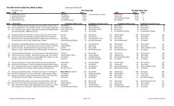 2005 Schedule Dual - The Coles