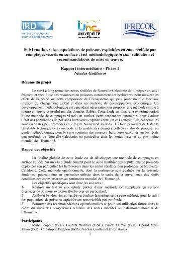Télécharger le rapport phase 1 - IFRECOR Nouvelle-Calédonie