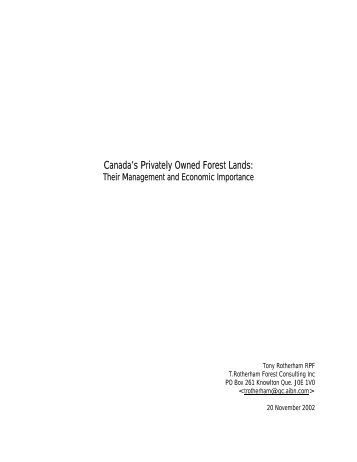 Canada's Privately Owned Forest Lands: - Ontario woodlot.com
