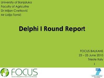 Delphi I Round Report - Focus-Balkans