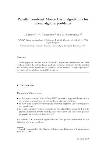 Parallel resolvent Monte Carlo algorithms for linear ... - CiteSeerX