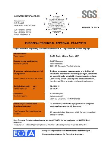 EUROPEAN TECHNICAL APPROVAL ETA-07/0124 - Saba
