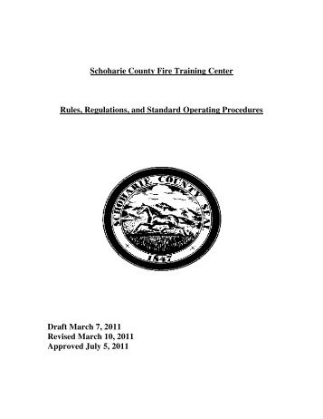 Fire Training Center Operating Procedures - Schoharie County