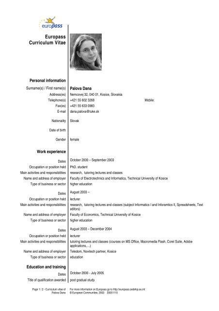 Europass Curriculum Vitae - TUKE
