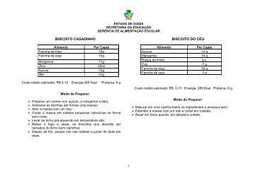 BISCOITO CASADINHO BISCOITO DO CÉU - Secretaria da ...