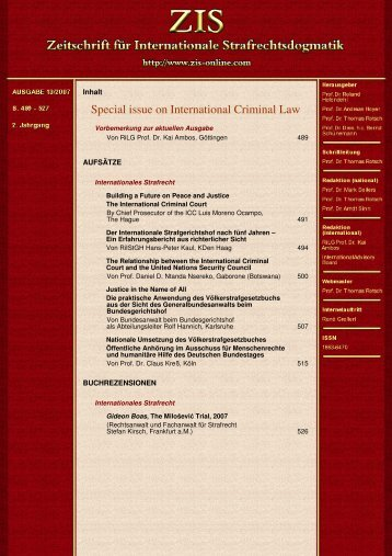 Special issue on International Criminal Law - ZIS